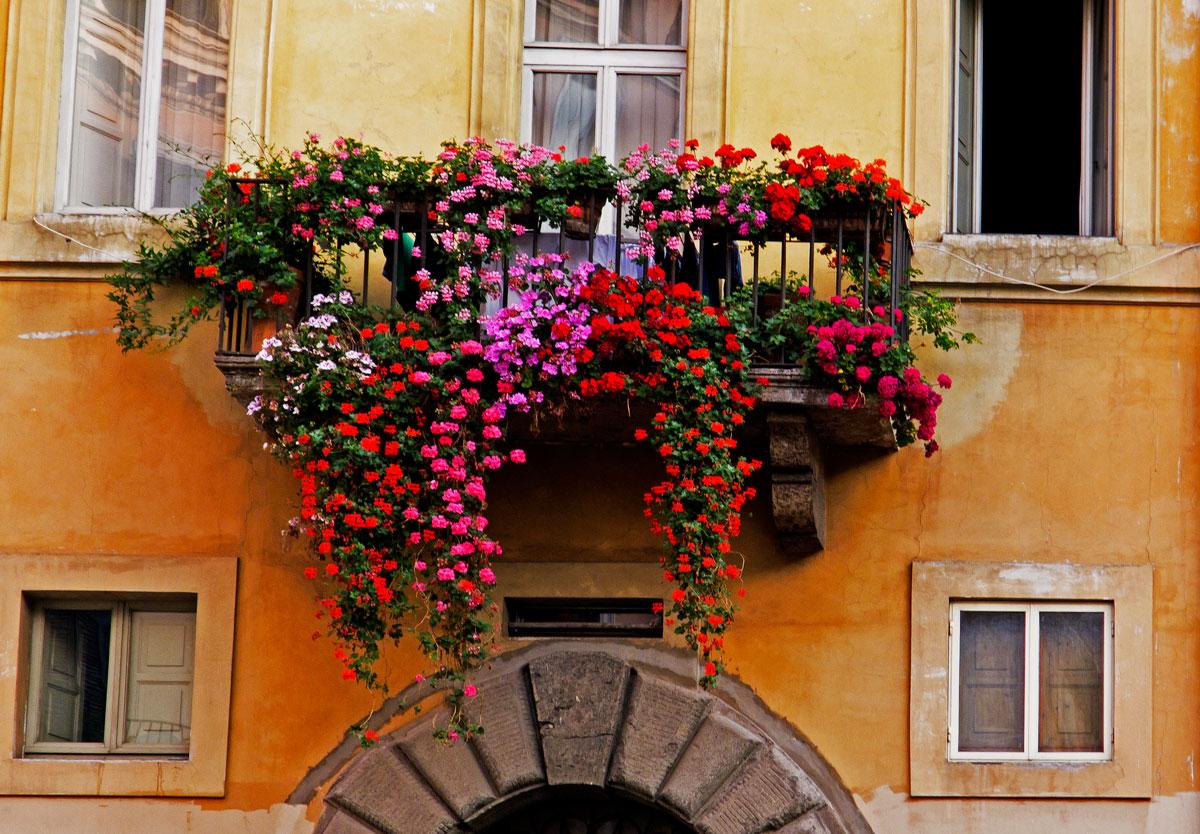 Balcone fiorito abbellimento facciata